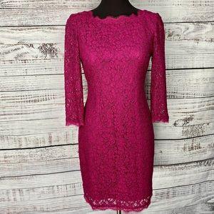 ADRIANNA PAPELL EVENING Fuchsia Lace Sheath Dress